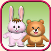 動物のイメージ画像・ウサギとクマ