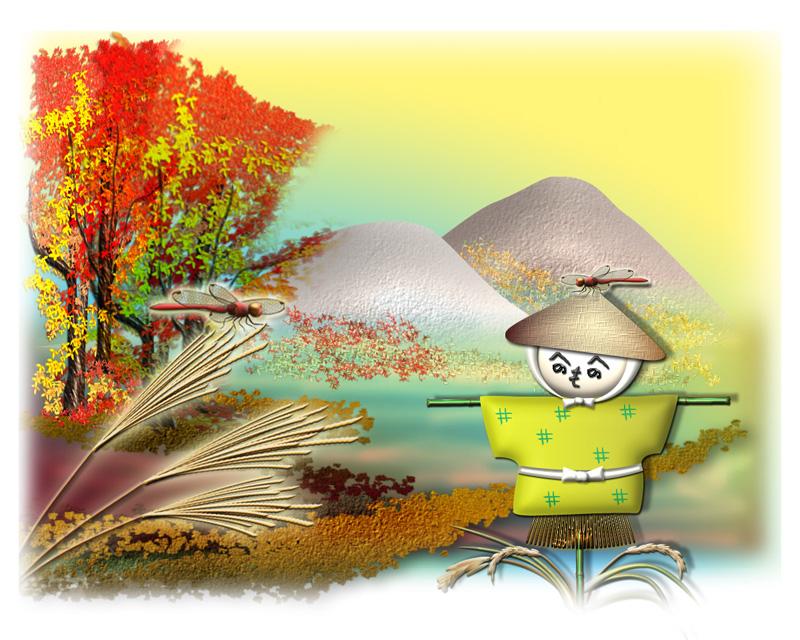 案山子のいる秋の風景イラスト