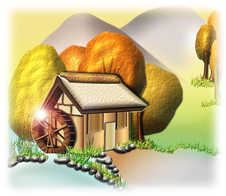 秋の水車小屋の風景イラスト