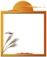 ススキと赤とんぼの飾り枠イラスト