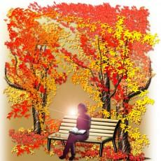 秋の読書シルエットのイラスト