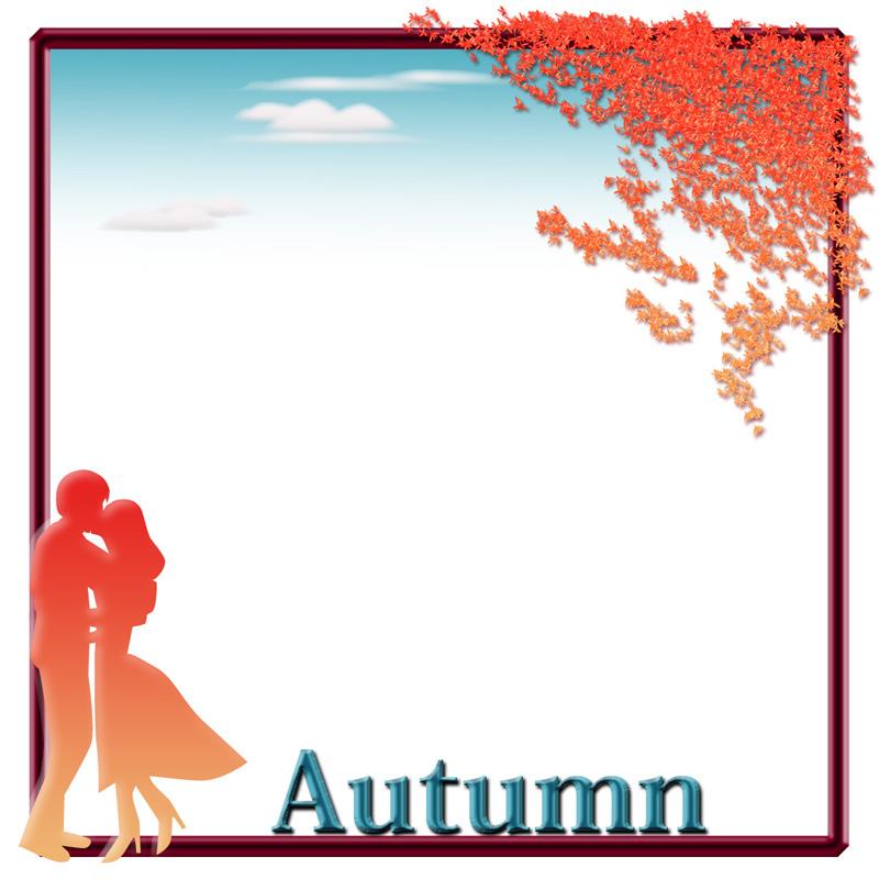 秋のLOVEシルエットの飾り枠イラスト