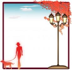 秋の散歩シルエットの飾り枠イラスト