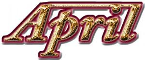 「April」の立体ロゴ メタリック加工素材
