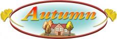 「Autumn」の楕円形ロゴ・デザイン