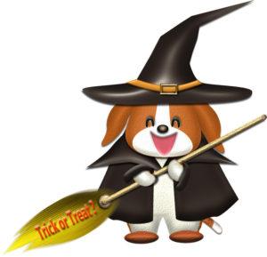 魔女の仮装をした犬のイラスト
