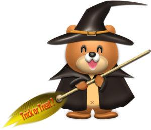 ハロウィン魔女の仮装をしたクマ