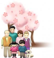 お花見家族のイラスト