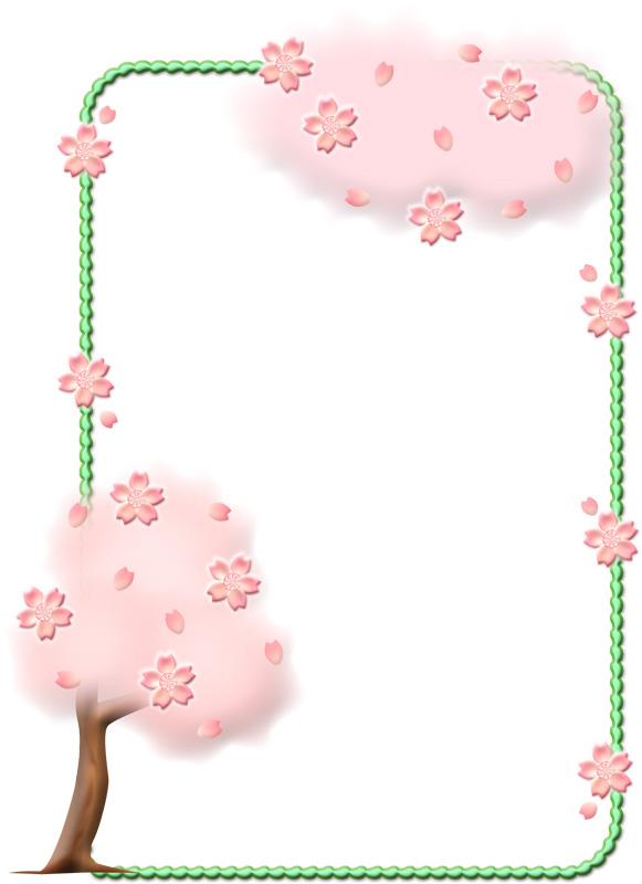 お花見用の桜の枠イラスト