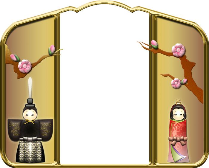 桃の花と立ち雛の枠イラスト