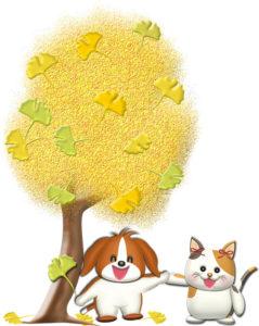 銀杏の木と犬猫キャラの可愛いイラスト
