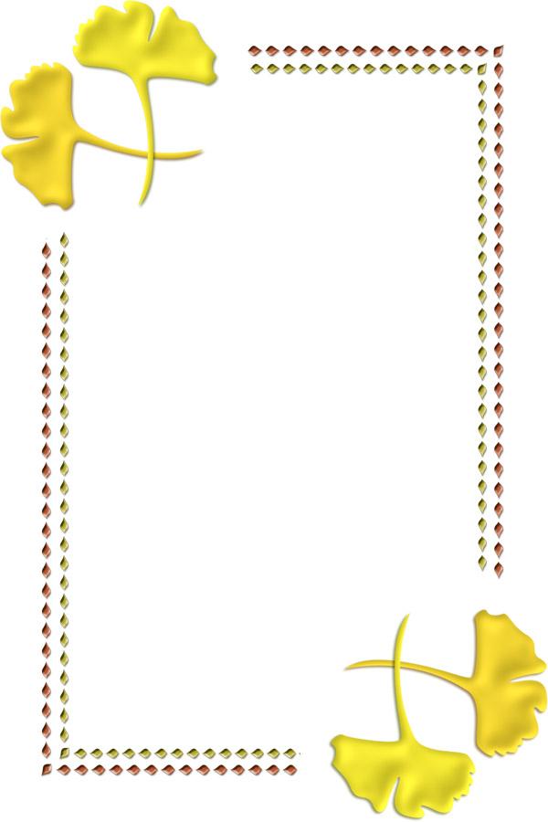 銀杏の飾り枠イラスト