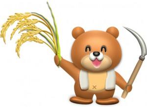 稲刈りするクマのイラスト