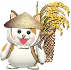 稲刈りする猫のイラスト