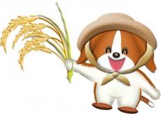 稲刈りする犬のイラスト
