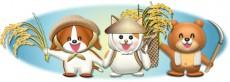 可愛い動物たちの稲刈り姿のイラスト