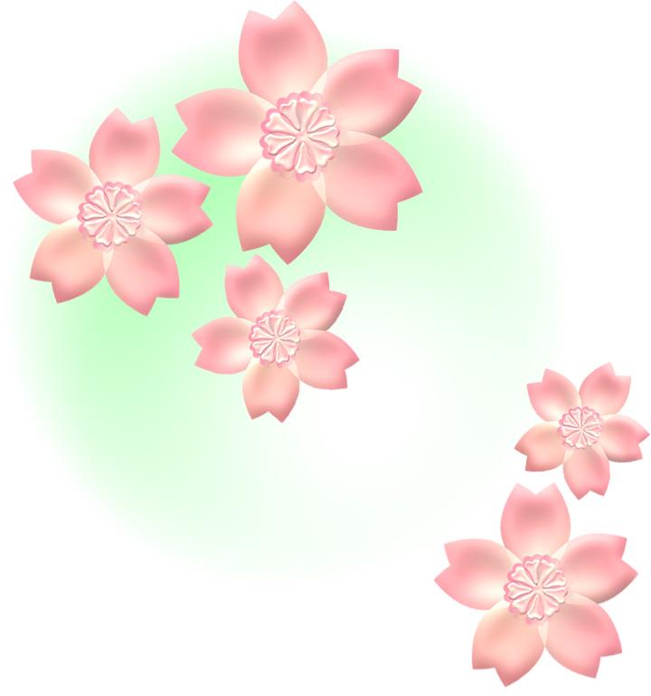 桜の花イラスト・ミントの霞背景