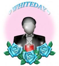青いバラとホワイトデープレゼントのイラスト