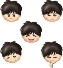 男の子の顔・表情別のイラスト