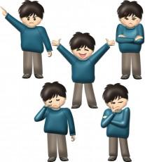 男の子の喜怒哀楽ポーズのイラスト