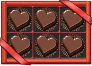 ハートのバレンタインチョコ(箱入り)のイラスト
