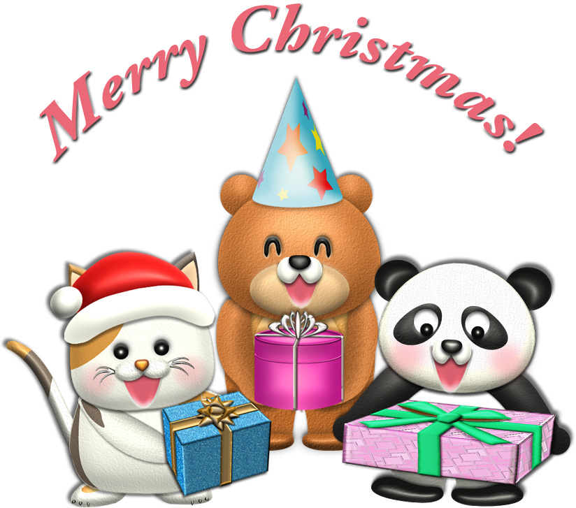 動物たちのクリスマスプレゼントのイラスト