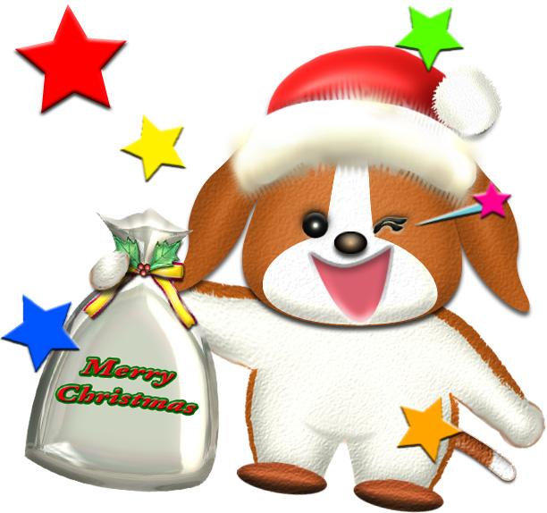 犬のクリスマスプレゼントのイラスト