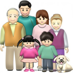 秋の3世代家族(基本)イラスト
