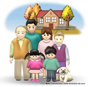 秋の3世代家族(背景付き)イラスト