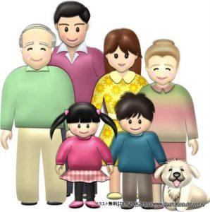 春の3世代家族(基本)イラスト