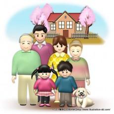 春の3世代家族(背景付き)イラスト