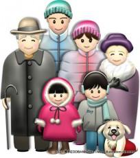 冬の3世代家族(基本)イラスト