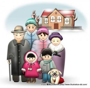 冬の3世代家族(背景付き)イラスト