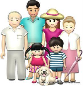夏の3世代家族(基本)イラスト