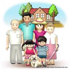 夏の3世代家族(背景付き)イラスト