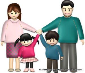 秋の4人家族(基本)イラスト