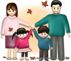 秋の4人家族(紅葉)のイラスト