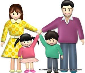 春の4人家族(基本)イラスト