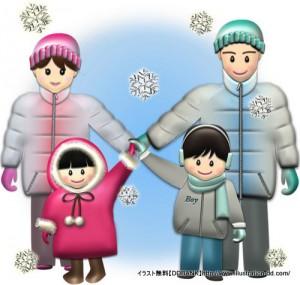 冬の4人家族(雪)イラスト