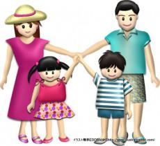 夏の4人家族(基本)イラスト