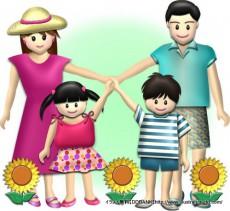 夏の4人家族(ひまわり)のイラスト