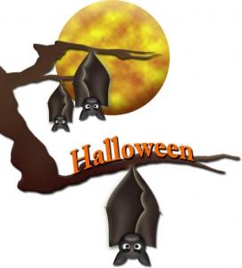 月夜の枝の蝙蝠たちのイラスト