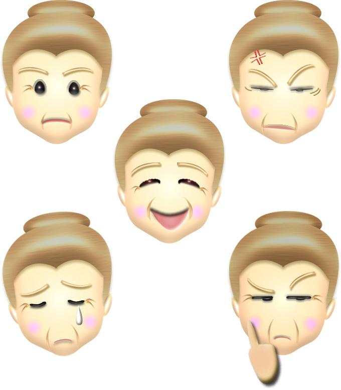 おばあさんの顔・表情のイラスト集