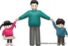 秋の父と子供(基本)イラスト