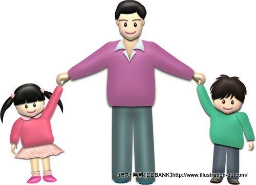 春の父と子供(基本)イラスト