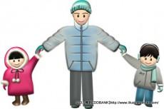 冬の父と子供(基本)イラスト