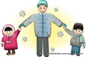 冬の父と子供(雪)イラスト