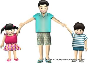 夏の父と子供(基本)イラスト