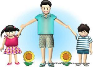 夏の父と子供(ひまわり)イラスト