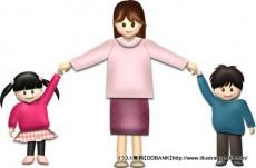 秋の母と子供(基本)イラスト